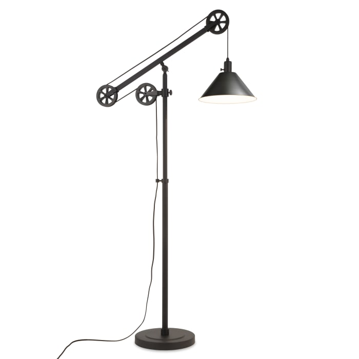 Descartes Blackened Bronze Floor Lamp with Pulley System