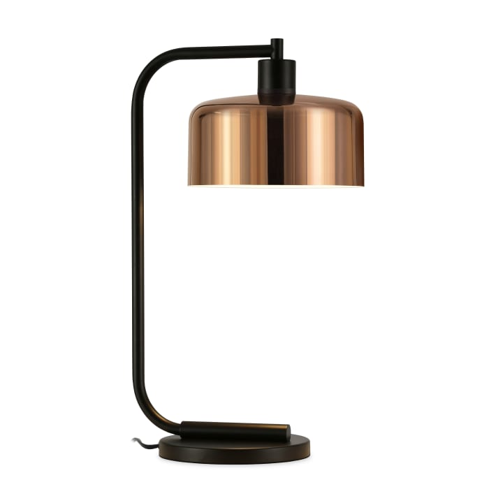 Cadmus Blackened Bronze Table Lamp with Copper Shade