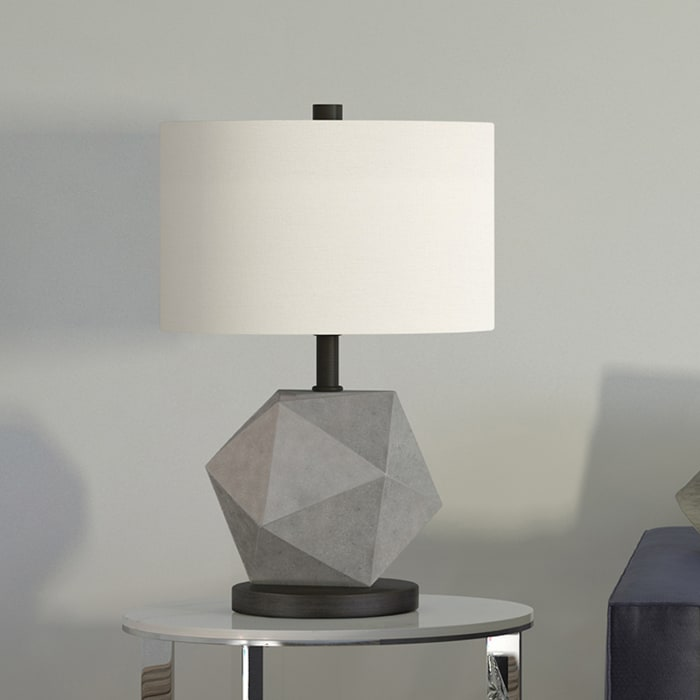 Kore Concrete Table Lamp with Blackened Bronze Accents