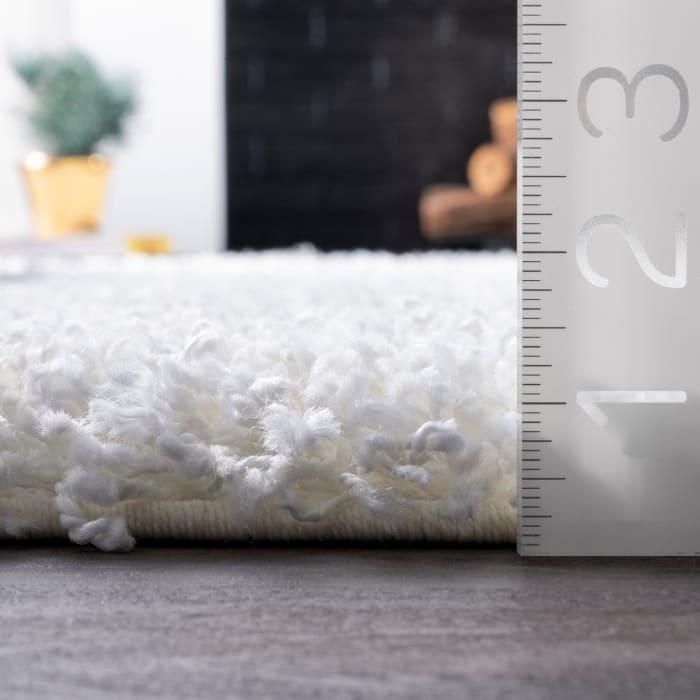 Marleen Plush Shag 5' Round White Rug