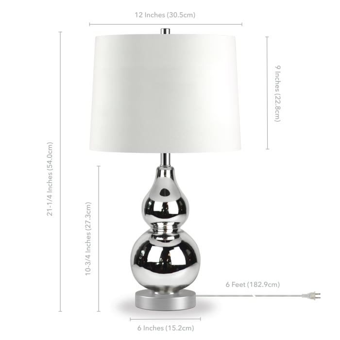 Katrina Polished Nickel Plated Glass Petite Table Lamp with Satin Nickel Accents