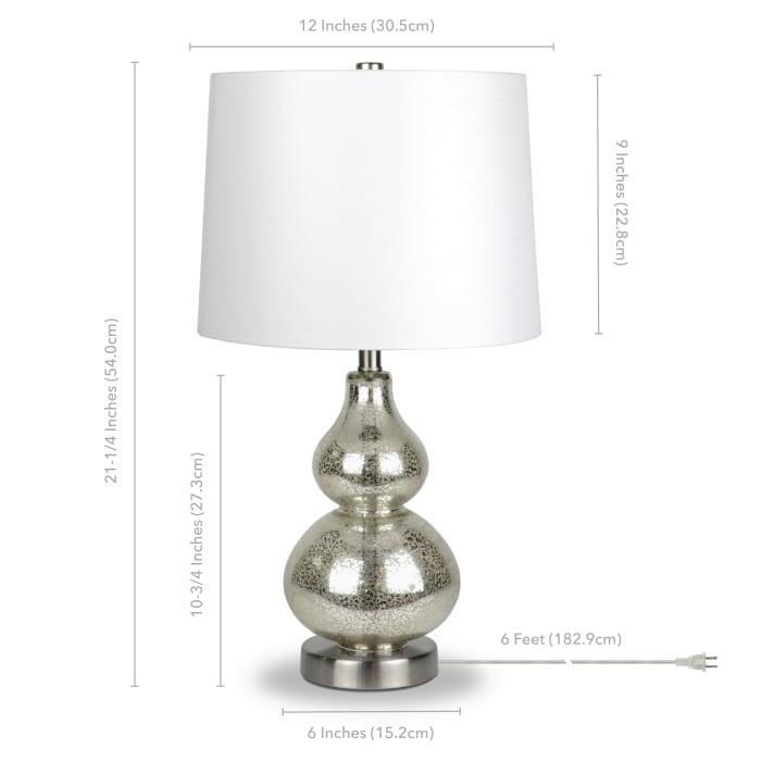 Katrina Mercury Glass Petite Table Lamp with Satin Nickel Accents