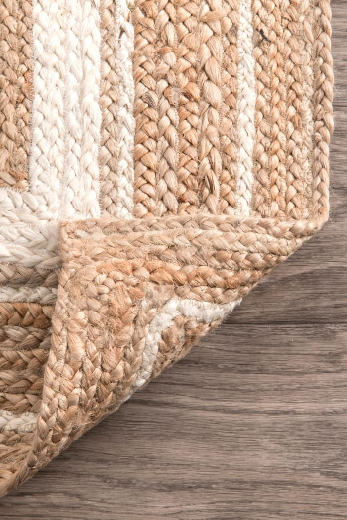 Braided Rikki Border Jute 5x8 Off White Jute Rug