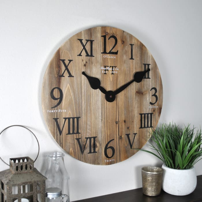 Rustic Barn Wooden Round Wall Clock
