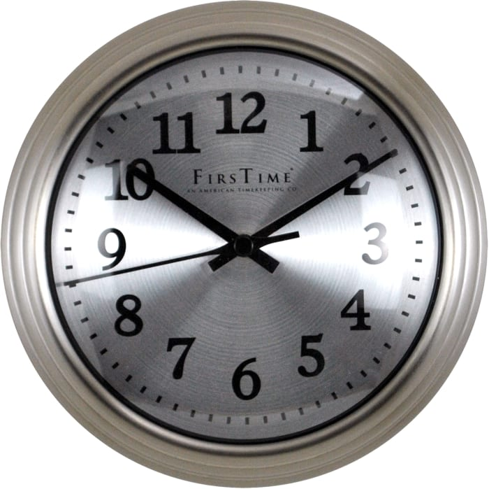 Round Brushed Steel Wall Clock