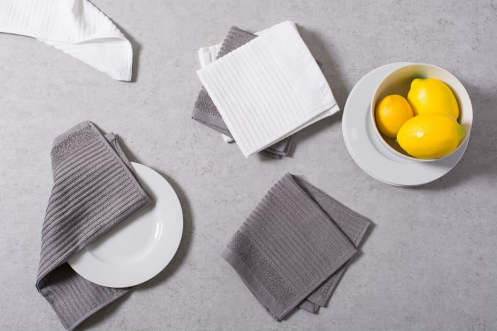 Assorted Ribbed Gray Dishcloth Set