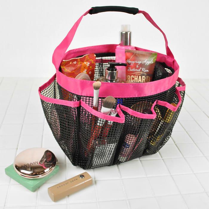 Mesh Hot Pink Shower Caddy