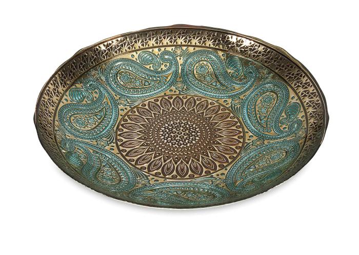 Turquoise Paisley Glass Decorative Bowl