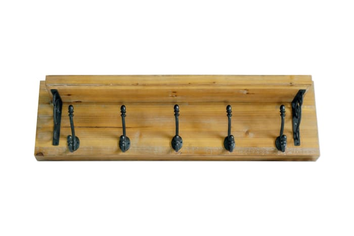 Natural Brown Wall Shelf with Metal Hooks