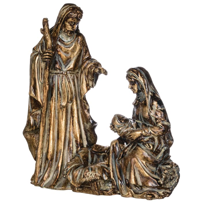 Antiqued Holy Family Figurine