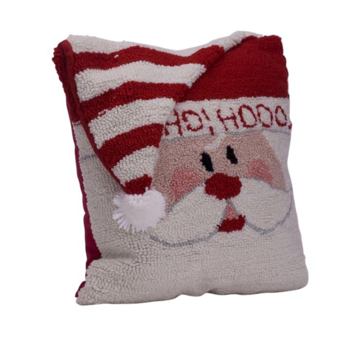 Hooked Embellished Ho Ho Ho Santa Pillow