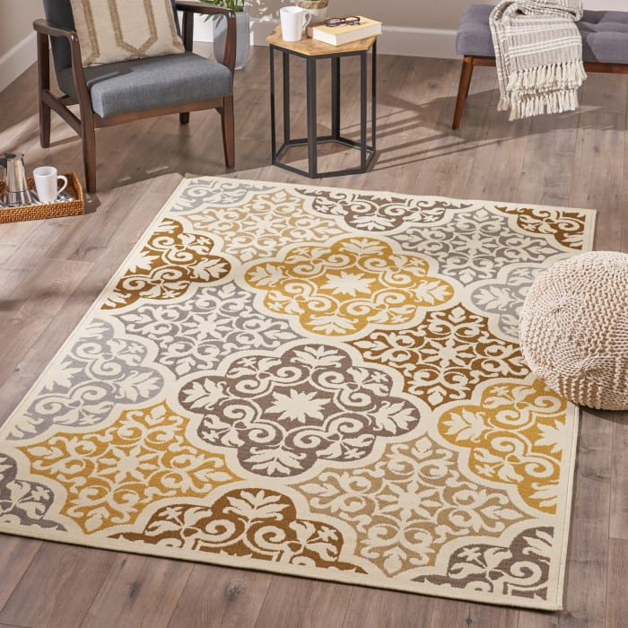 Art Floral Ivory & Gray Rug 5 x 8