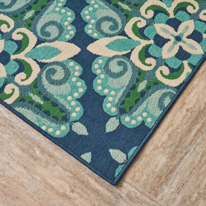 Floral Blue & Gray Rug 8 x 11