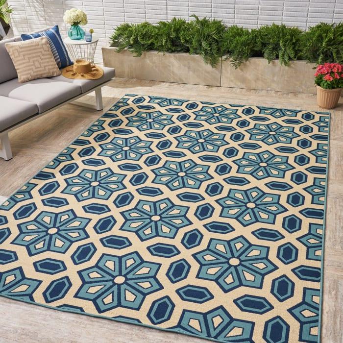 Geometric Ivory & Blue Rug 8 x 11