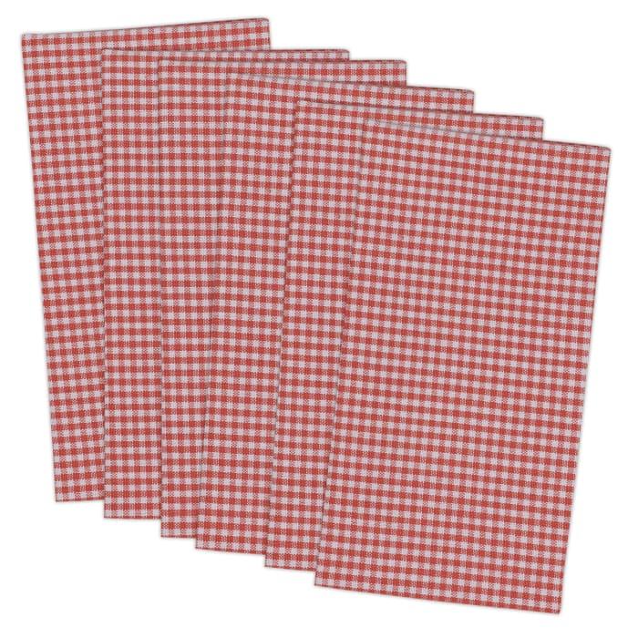 Coral Checkered Cotton Napkin Set