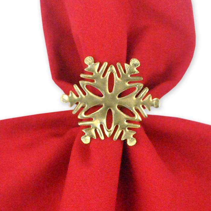 Gold Snowflake Napkin Ring Set of 6