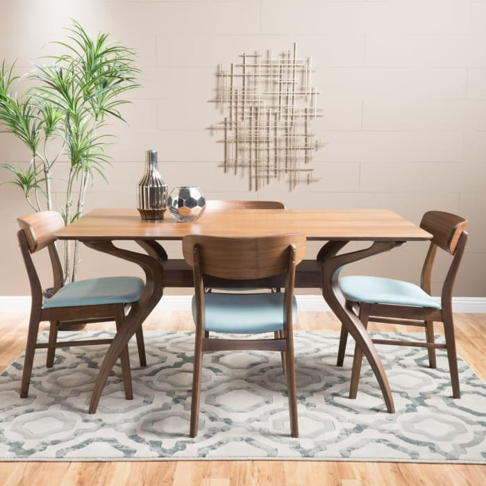 Walnut & Mint Curved Leg Mid-Century 5-Piece Dining Set