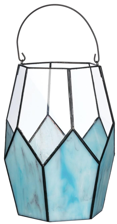 Geometric Blue Pillar Candle Holder