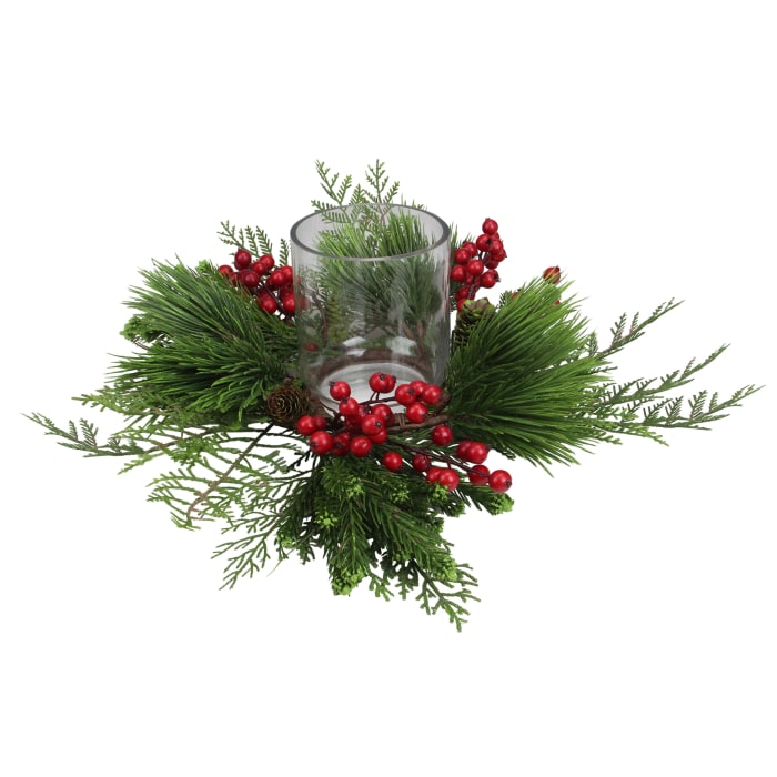 Faux Pine & Red Berry Pillar Candle Holder