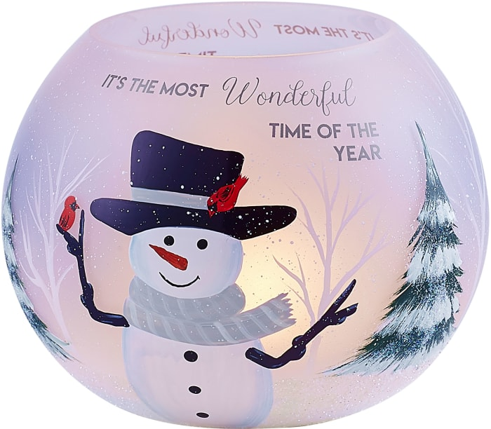 Smiley Snowman Round Tealight Holder