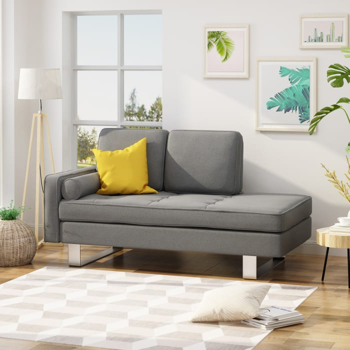 Modern Gray Fabric Chaise Loveseat