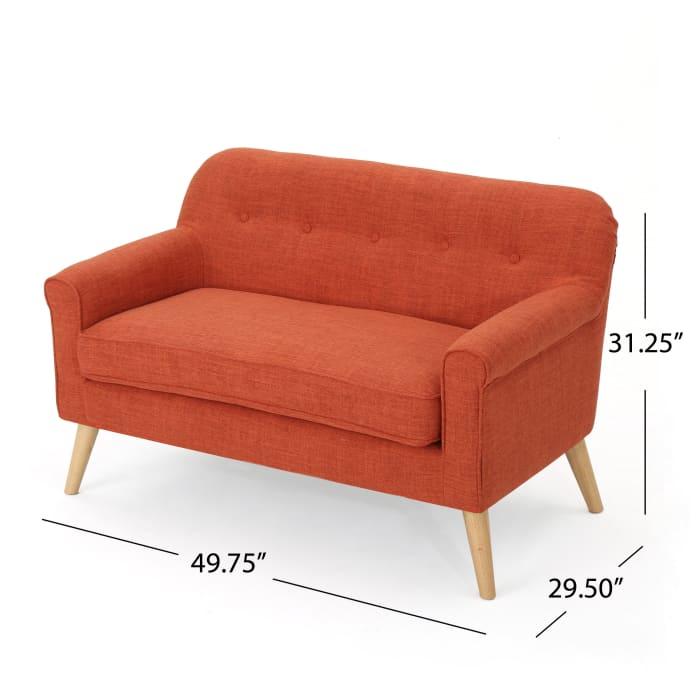 Mid Century Modern Muted Orange Loveseat