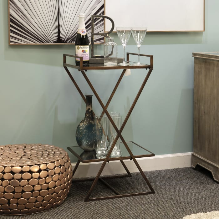 Antiqued Two-Tier Mirrored Pedestal Table