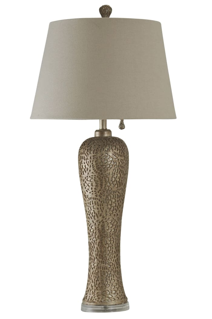 Silver Table Lamp with White Hardback Fabric Shade