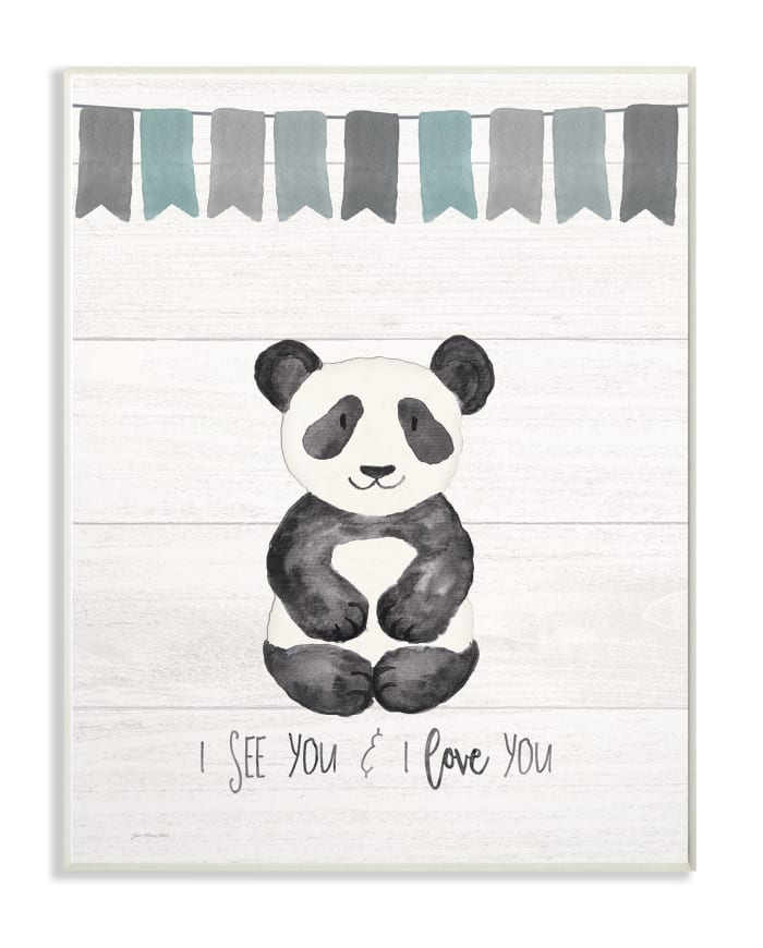 Grayscale Party Panda Wall Plaque Art