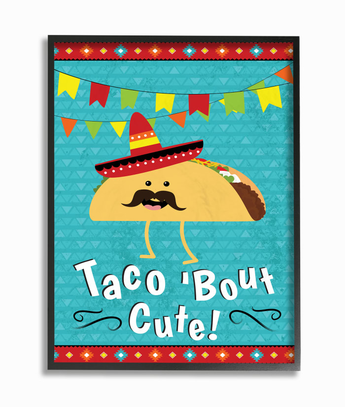 Taco Bout Cute with Mustache Framed Giclee Texturized Art