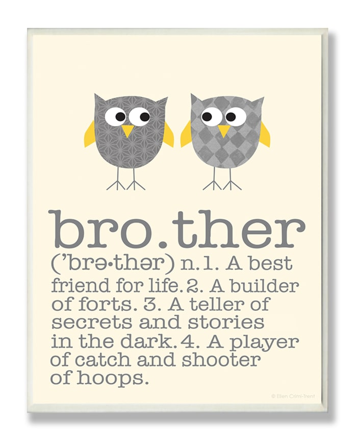 Brother Owl Wood Plaque Wall Art