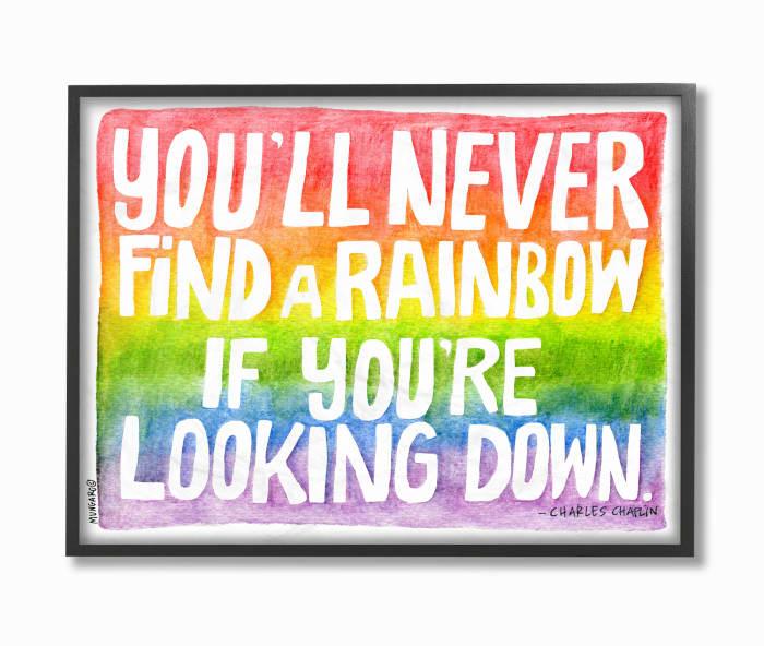 Seeking a Rainbow Typography Framed Giclee Texturized Art