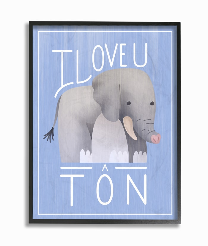 I Love U Blue Framed Giclee Wall Art