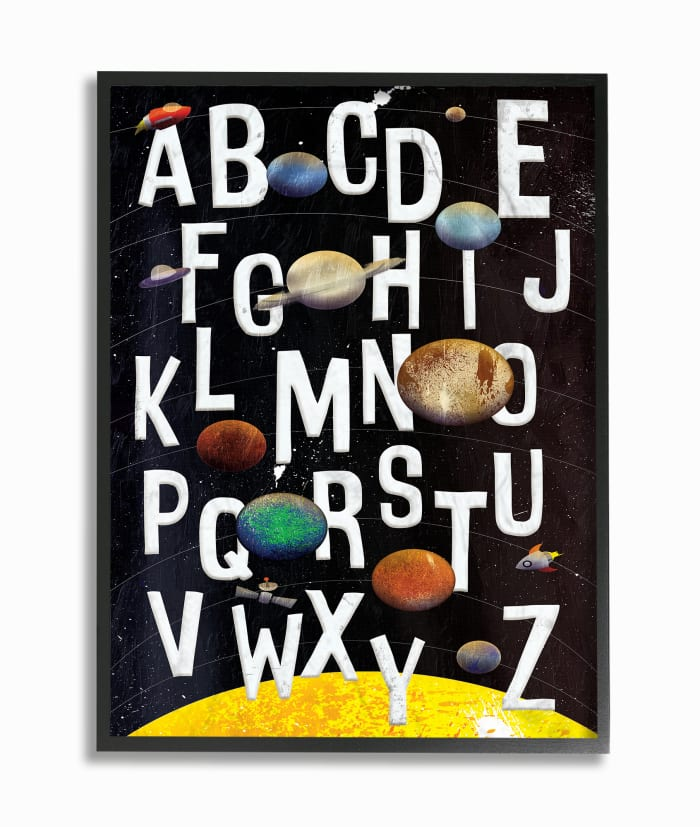Outer Space Alphabet Framed Giclee Texturized Art