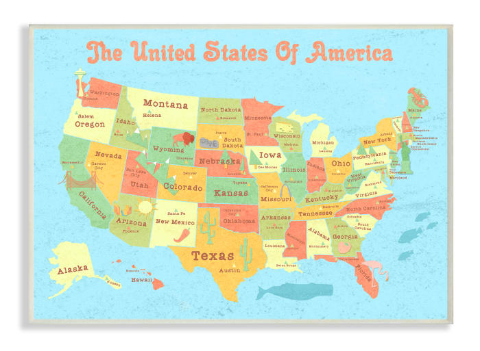 Kids United States Map Wood Plaque Wall Art