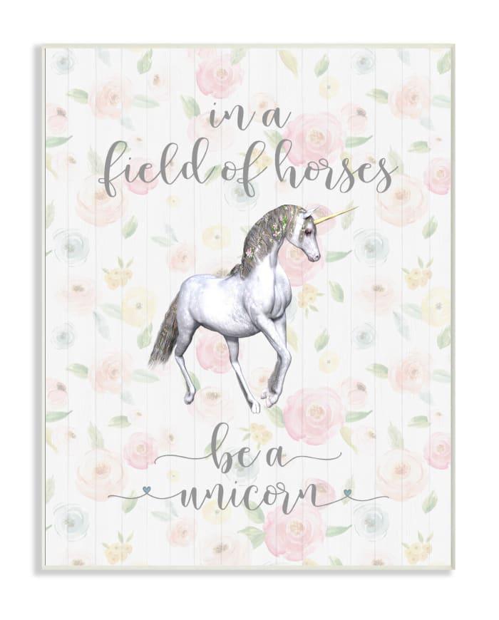 Floral Unicorn Wood Plaque Wall Art