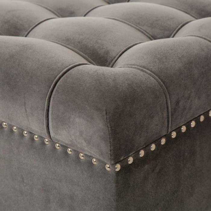 Gray Velvet Tufted Storage Bench with Acrylic Legs