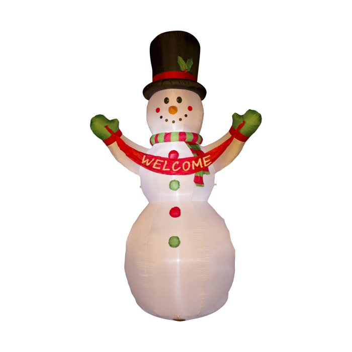 Pre-Lit Outdoor Inflatable Snowman with Welcome Sign