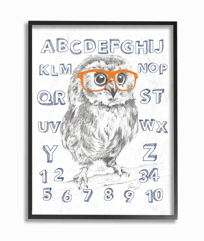 Alpha Owl Framed Giclee Texturized Art