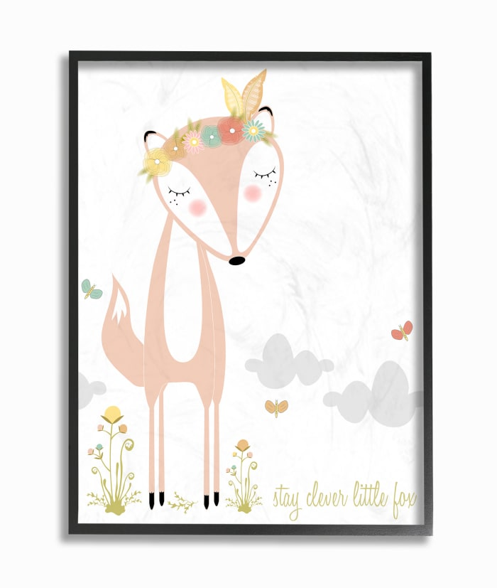 Foxy & Clever Framed Giclee Texturized Art