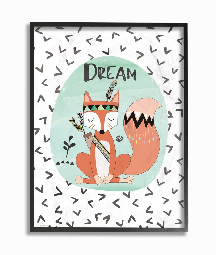 Sleepytime Fox Framed Giclee Texturized Art