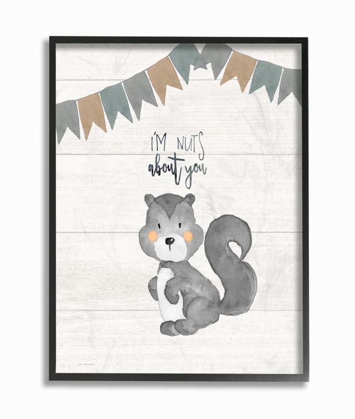 Silly Squirrel Framed Giclee Texturized Art