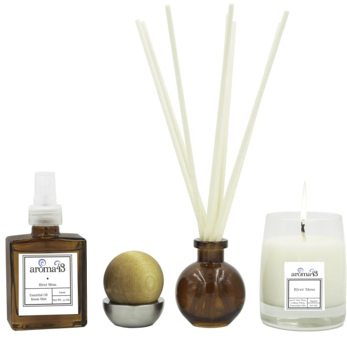 River Moss 4-Piece Luxury Fragrance Set, Natural Holistic Sustainable
