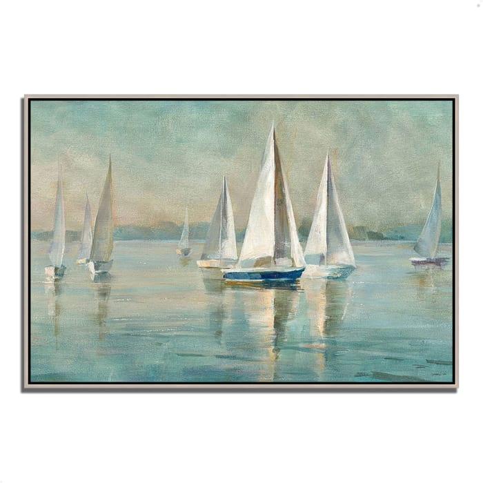 Sailboats at Sunrise by Danhui Nai 32 x 22 Gallery Wrap Canvas