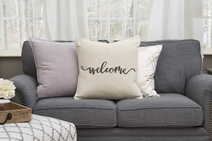 Welcome Script Square Pillow