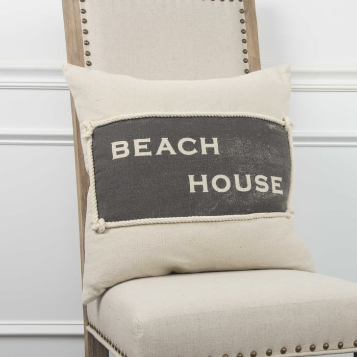 Beach House Block Text Square Pillow Cover