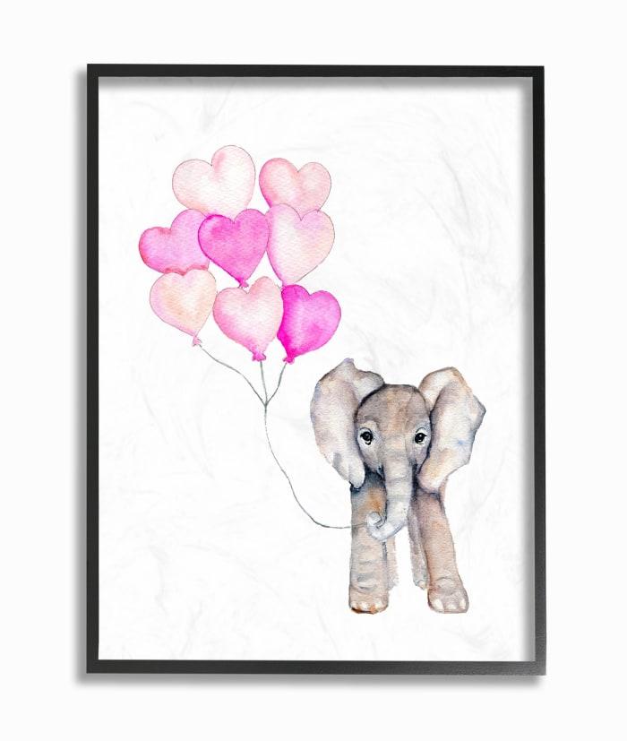 Full of Love Party Elephant Framed Giclee Texturized Art, 11 x 1.5 x 14