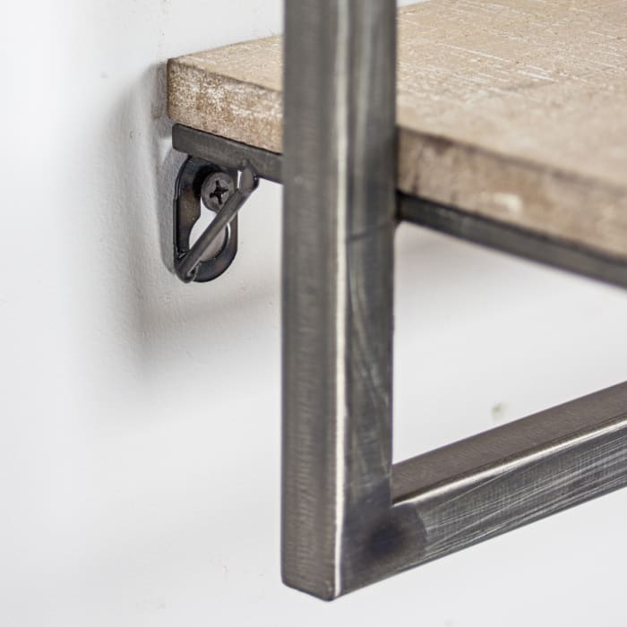 Wood and Metal Hanging Wall Shelf and Rack