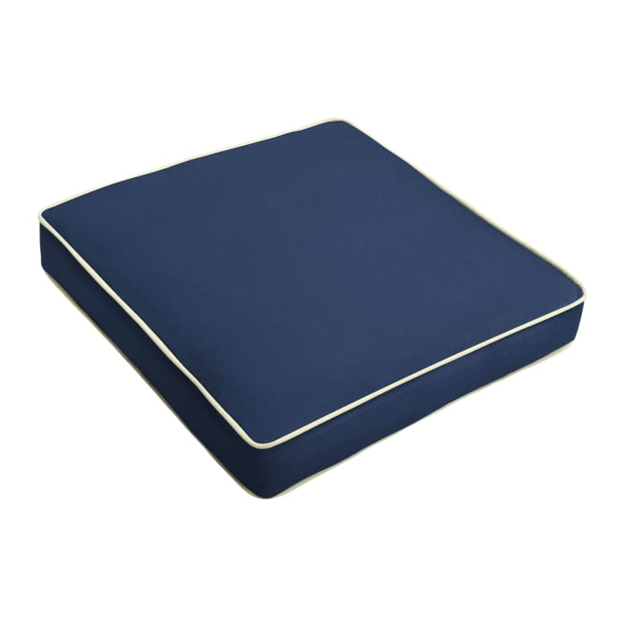 Sunbrella Cushion in Canvas Navy with Natural Cording