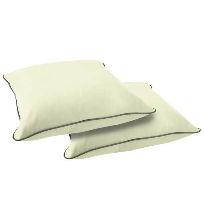 Sunbrella in Canvas Natural with Canvas Charcoal Cording Pillows Set of 2